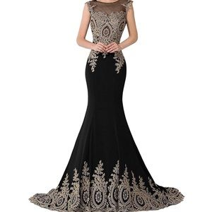 Gold and black lace ball gown